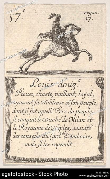 Louis douz.-e / Pieux, chaste., from 'Game of the Kings of France' (Jeu des Rois de France). Series/Portfolio: 'Game of the Kings of France' (Jeu des Rois de...