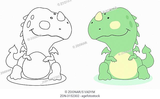 Cartoon dragon outline. . Vector EPS 8