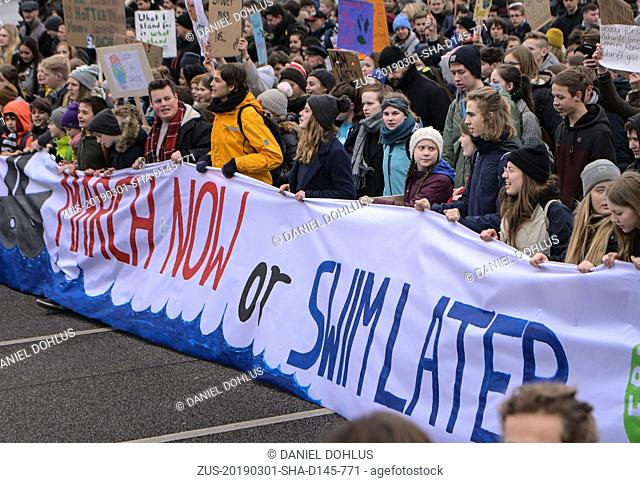 March 1, 2019 - Hamburg, Germany - Kids in Hamburg Germany refused to go to school and protest for more action on climate change policy