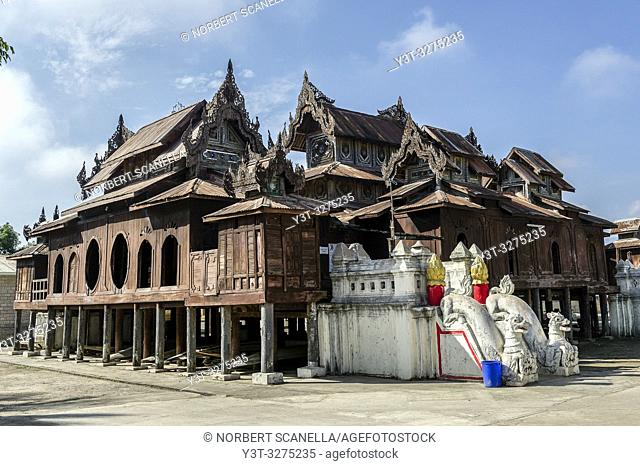 Myanmar (ex Birmanie). Nyaung Shwe. Shan state. The Shwe Yan Pyay monastery (Or ''The palace of the mirrors'') designed in wood in 1907 near Inle Lake