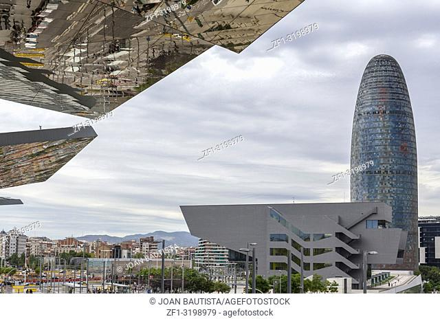 Modern architecture, square, plaza glories, Torre Agbar, building Disenny Hub and glass roof of Encants, Barcelona