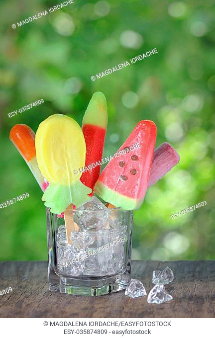 Different ice cream with fruit favor and shapes