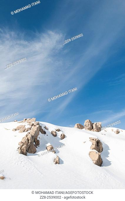 Snow covering Faraya in Kesrwan district Lebanon Middle East