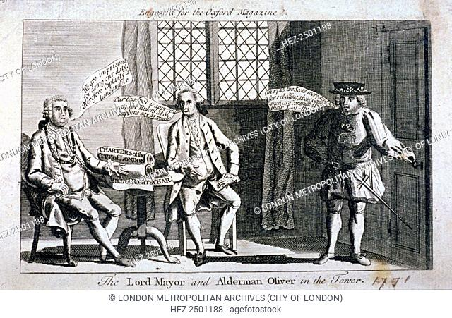 The Lord Mayor [Brass Crosby] and Alderman Oliver, imprisoned in the Tower of London, 1771. Crosby and Oliver clashed with Parliament over the publication of...