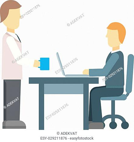 Office secretary business, people and paperwork concept. Businessman taking folder papers from secretary in office. Office secretary with cup of coffee