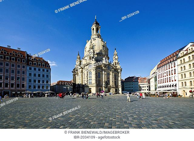 The rebuilt Frauenkirche church, as seen from Neumarkt square, Dresden, Saxony, Germany, Europe