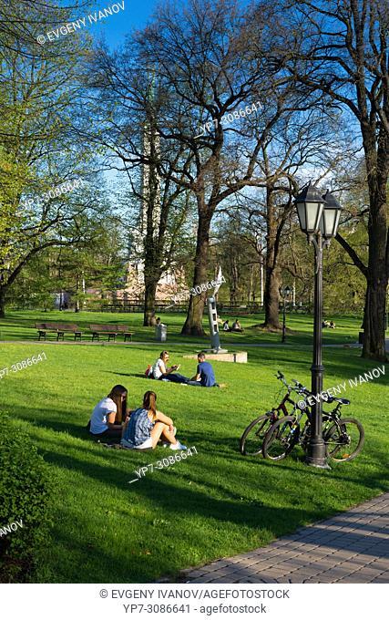 Green grass lawn in Lawns in Bastion Hill park, Riga, Lativa