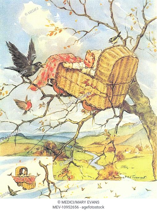 Baby in a cradle on the branches of a tree. Illustration for the nursery rhyme: 'Rock-a-bye Baby, On the tree top, When the wind blows, The cradle will rock