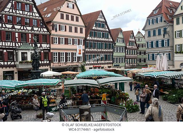 07. 06. 2017, Tuebingen, Baden-Wuerttemberg, Germany, Europe - The market square in Tuebingen's old town