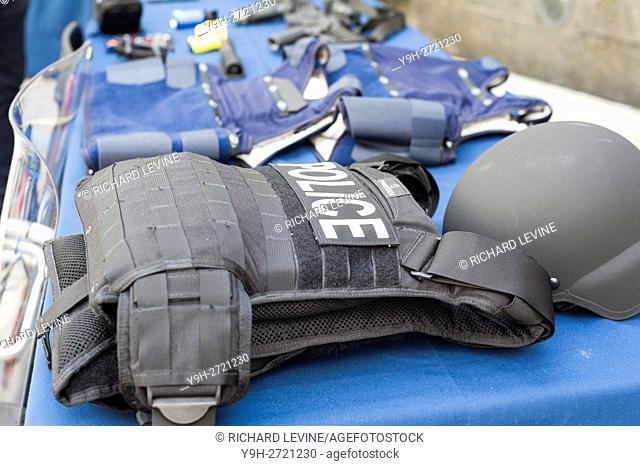 Police body armor on display while New York Mayor Bill de Blasio and NYPD Commissioner William Bratton brief the media about improvements to police equipment at...