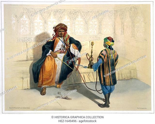 An Arab sheikh smoking, 1848. Illustration from The Valley of the Nile by Emile Prisse d'Avennes
