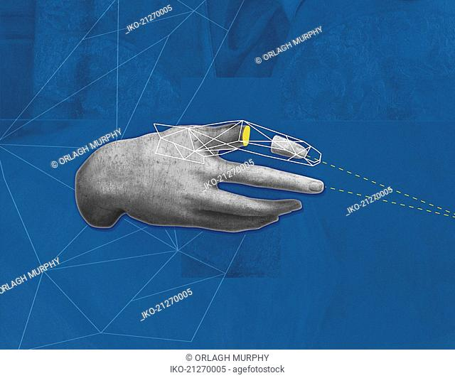 Human hand with geometric pattern over missing piece of finger