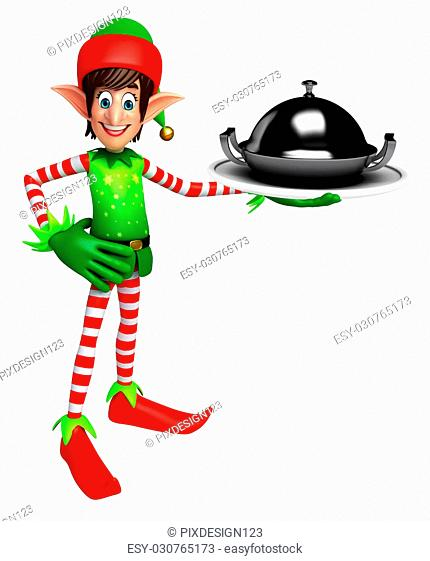3d rendered illustration of elves with pan
