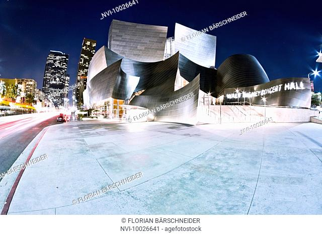 Disney Concert Hall at night, Los Angeles, California, USA