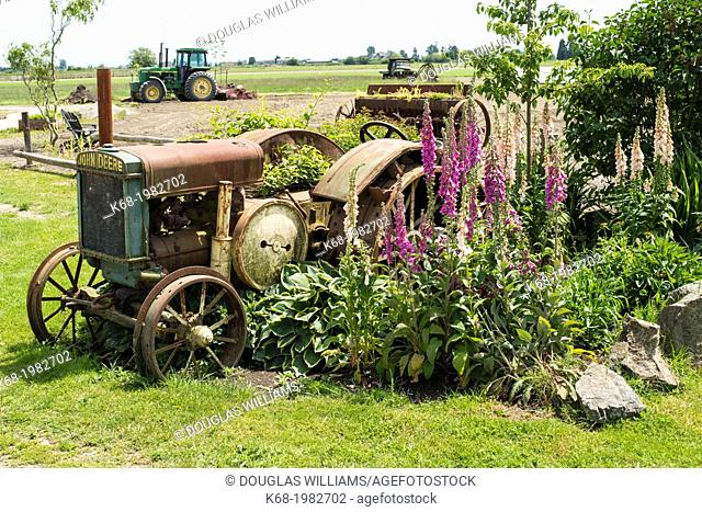 An old John Deere tractor on a farm in Ladner, BC, Canada