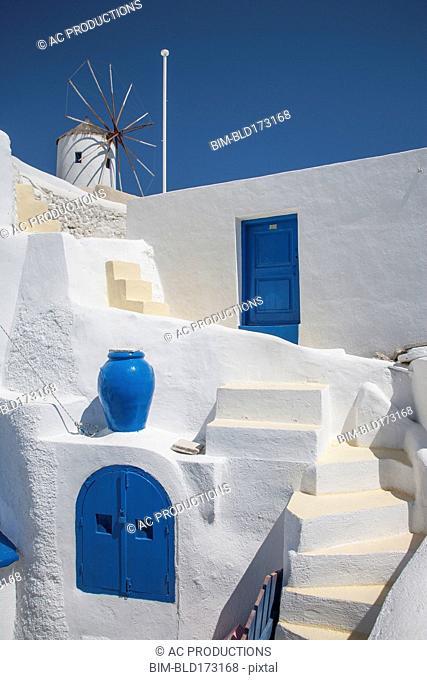 Steps on building under blue sky