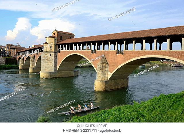 Italy, Lombardy, Pavia, the old covered bridge on Ticino river