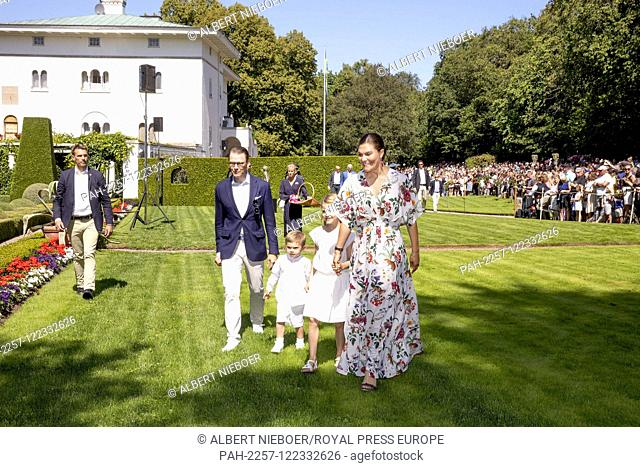 Crown Princess Victoria and Prince Daniel, Princess Estelle and Prince Oscar of Sweden at Solliden Palace in Borgholm, on July 14, 2019