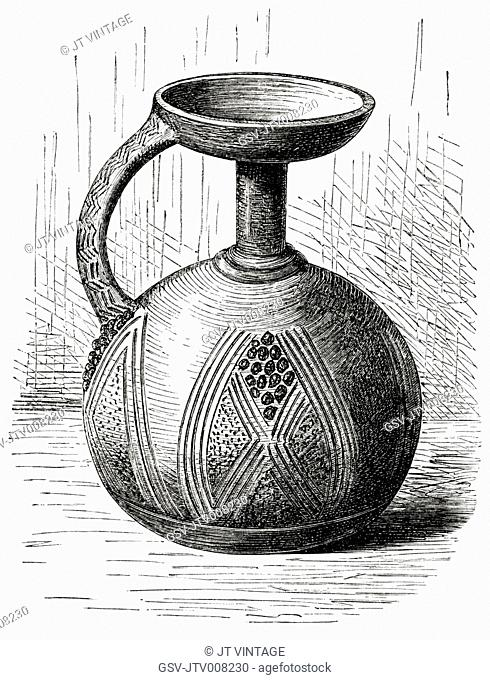 Clay Vessel from Lower Niger, Africa, Illustration, 1885