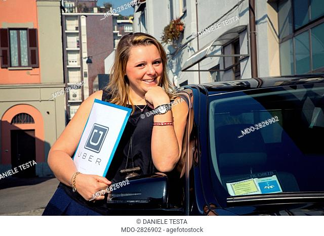 Benedetta Arese Lucini, young general manager for Uber Italy, which provides a car rent service with drivers in several Italian cities, posing for a photo shoot
