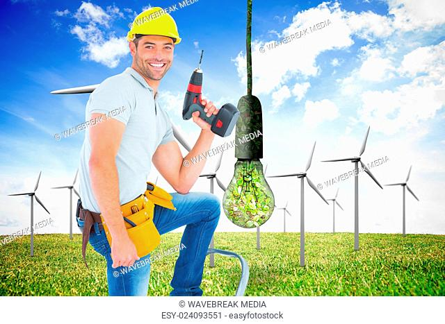 Composite image of confident handyman holding power drill while climbing ladder