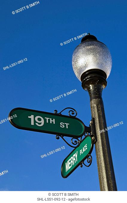 Street signs on lamp post
