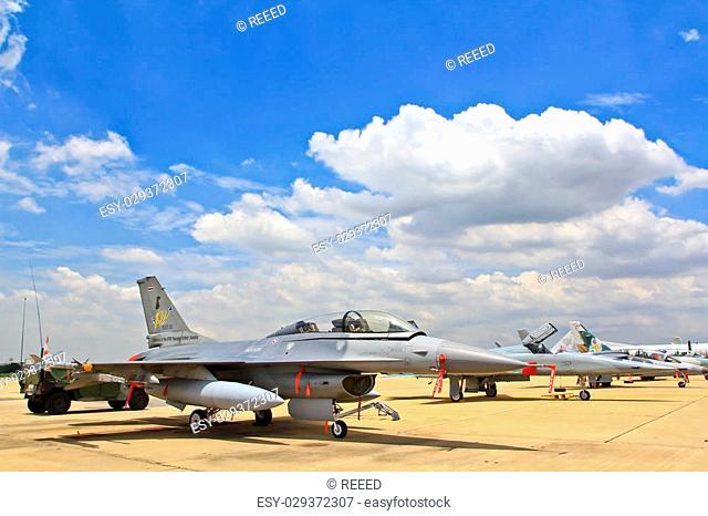 BANGKOK, THAILAND - JULY 02: F-16 of Royal Thai air force was showed in Cerebration of 100 year of Royal Thai air force (RTAF) at Don Muang airport July 2, 2012