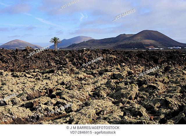 Aa lava and volcanos. Los Volcanes Natural Park, Lanzarote Island, Las Palmas, Canary Islands, Spain