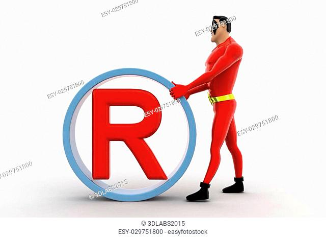 3d superhero rolling rights concept on white background, front angle view