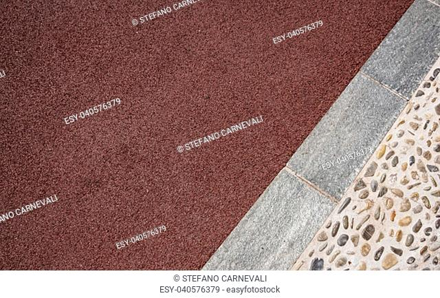 Perspective View of Various Color Grunge Brick Stone on The Ground for Street Road. Sidewalk, Driveway, Pavers