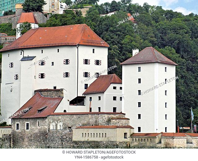 Passau Fortress - Veste Niederhaus is located at the confluence of the Ilz and Danube rivers, at Passau, Germany