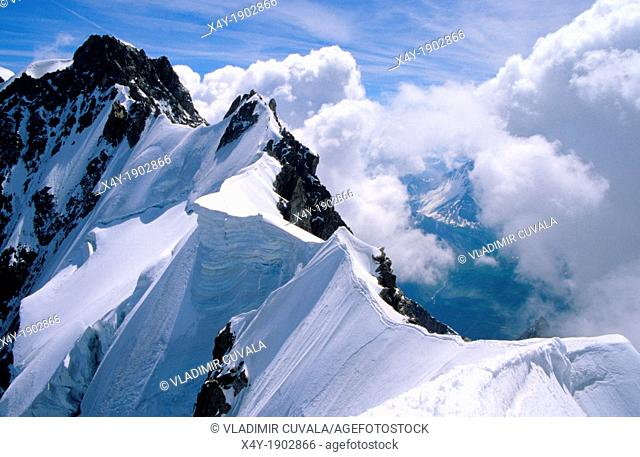 The Rochefort ridge, Mont Blanc mountain massif, Savoy Alps, France