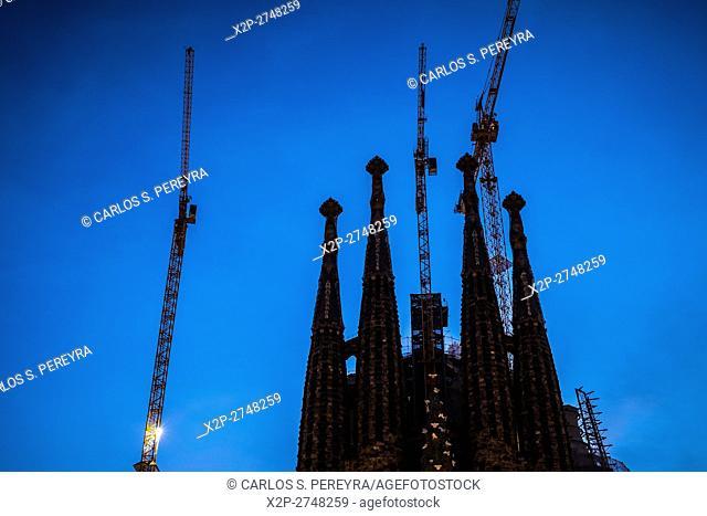 Sagrada Familia church by Antoni Gaudi architect in Barcelona Catalonia Spain
