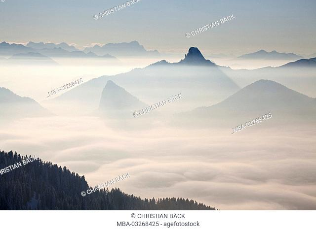 View from the Wallberg to the Tegernseer mountains in the Mangfall mountains with the striking Buchstein, Rottach-Egern, Upper Bavaria, Bavaria, South Germany