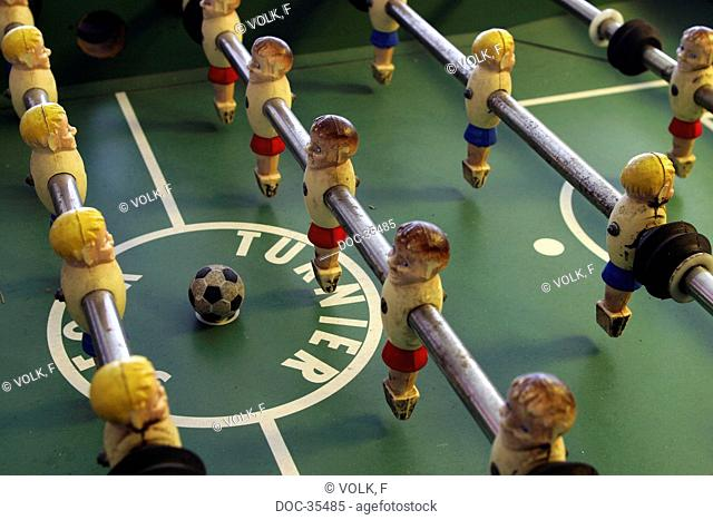 Medium long shot of a table soccer