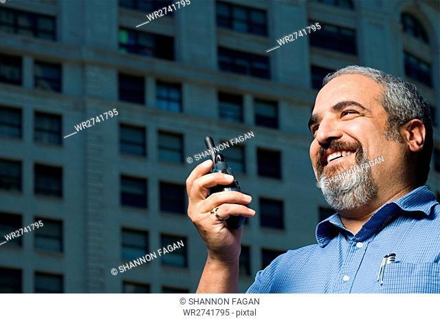 Man with walkie talkie