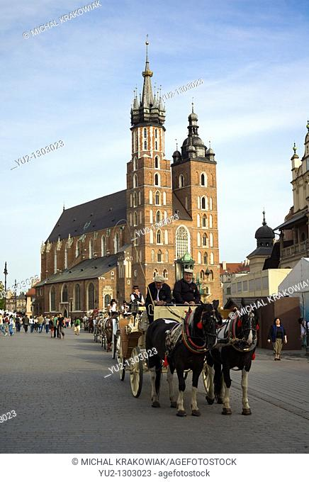 Krakow landmark - Basilica of Virgin Mary on Main Market Square