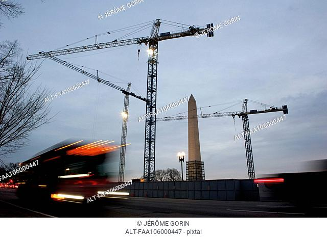 USA, Washington DC, Washington Monument under renovation