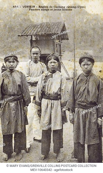 Quang Yen in the Quang Ninh province in the northeastern region of Vietnam - A Young Man and three Nung (Nong) Women