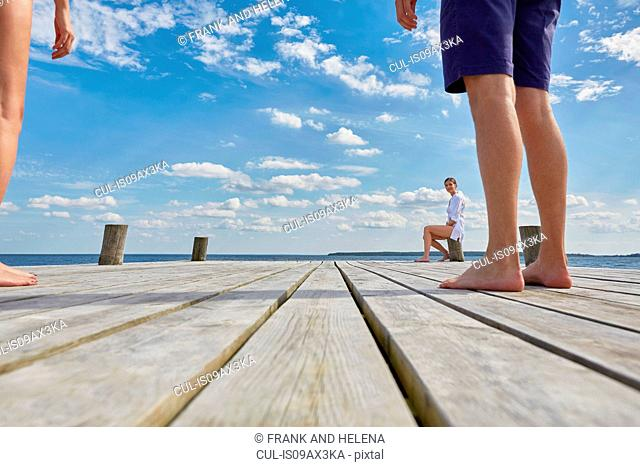 Young woman sitting on post on wooden pier, looking at friends standing further away