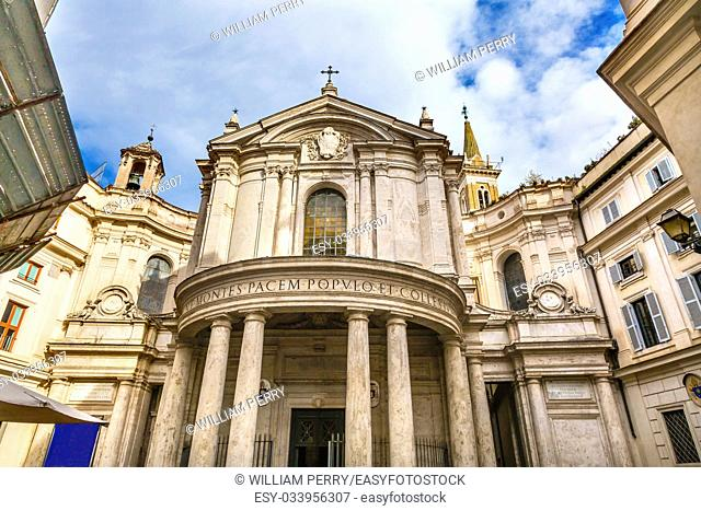 Santa Maria Della Pace Church Rome Italy. Church built in 1400 and 1500s by Pope Sixtus IV on the spot where a painted Madonna was pierced and blood came out