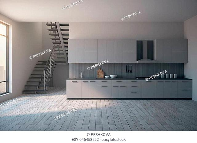 Loft kitchen interior with stairs, city view, daylight and furniture. Style and design concept. 3D Rendering