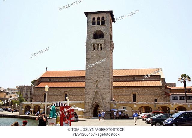 Church of the Evangelismos Annunciation at Mandraki harbour , Rhodes Town , Rhodes , Dodecanese , Greece