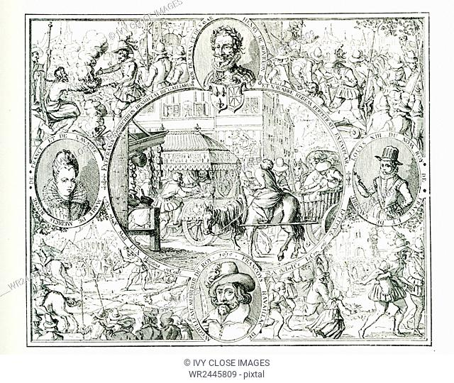 The caption for this engraving reads: Scenes of the attack and torture of Ravaillac, with portraits of Henri IV, Marie de Medicis, Louis XIII