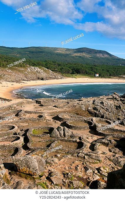 The Castro de Baroña, Celtic settlement -1st century BC, Porto do Son, La Coruña province, Region of Galicia, Spain, Europe