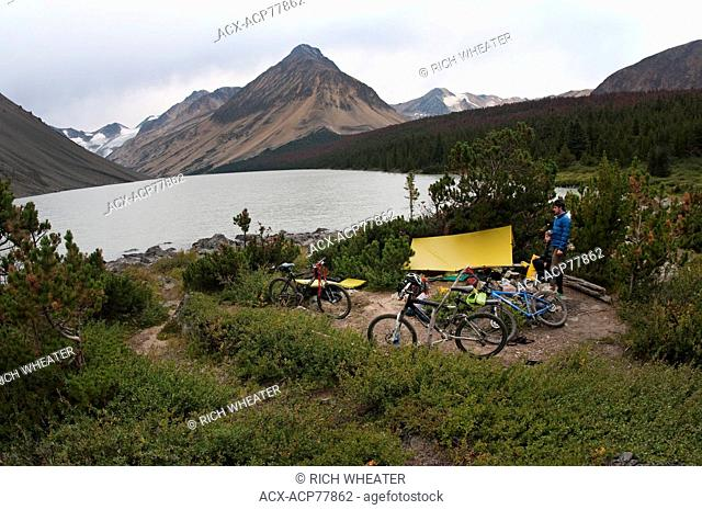 Camp at Lorna Lake. Mountain bike touring in Spruce Lake Protected Area. South Chilcotin Mountains. British Columbia, Canada