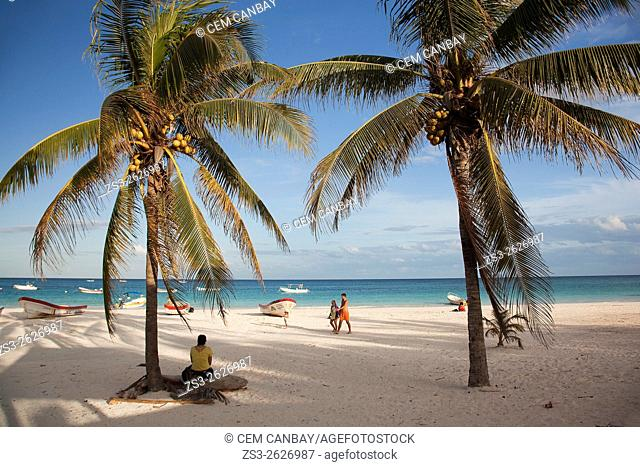 Tourists walking at the beach, Tulum, Quintana Roo, Yucatan Province, Mexico, Central America