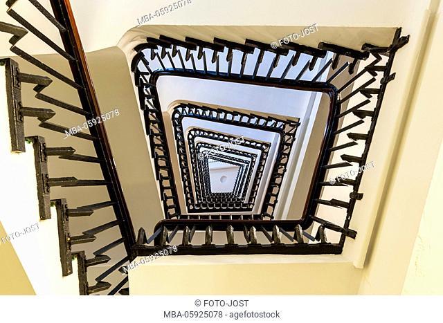 Stairs eye, Hamburg, stairs, Kontorhäuser / office buildings of Hamburg, Chilehaus, digitally arranged