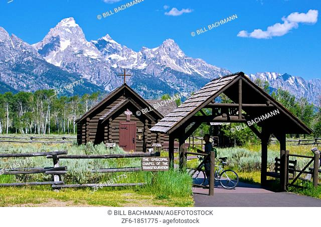 Chapel of the Transfiguration in Grand Tetons Mountain range in beautiful Jackson Hole Wyoming with natural beauty everywhere