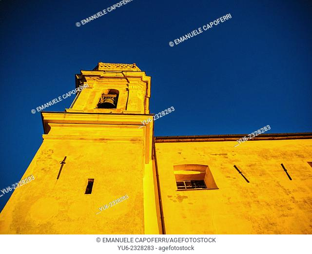 Villatalla church at sunset, Imperia, Liguria, Italy